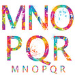 Font - Colorful letters with drops and splashes from M to R
