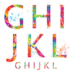 Font - Colorful letters with drops and splashes from G to L