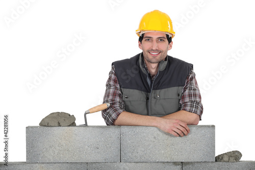 Portrait of a stonemason at work