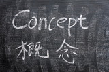 Concept - word written on a smudged blackboard poster
