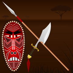 Illustration of African weapons
