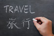 Travel - word written on a smudged blackboard