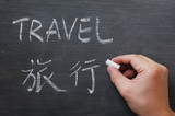 Travel - word written on a smudged blackboard poster