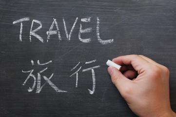 Travel - word written on a smudged blackboard