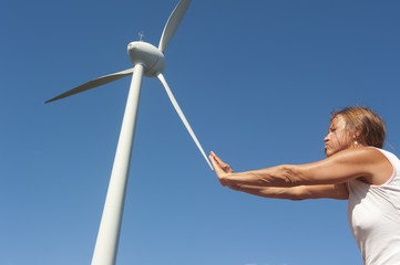 Renewable wind energy powered by woman