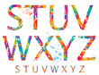 canvas print picture - Font - Colorful letters with drops and splashes from S to Z