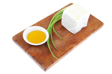 diet food : greek feta white cheese served on wood