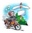 Motorbiker at a crossroads