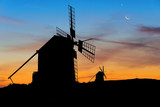 Moon and Venus over Spanish Windmills at dusk