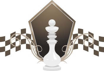 White king and shield. Chess icon