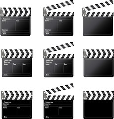 Set of movie clap board on white background.