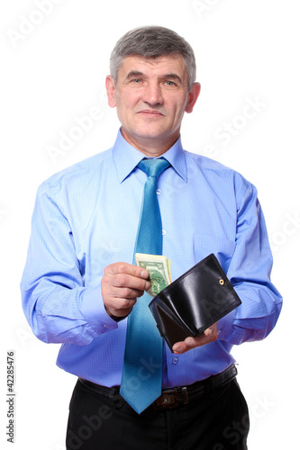 businessman believes the money isolated on white