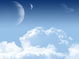Sky background with planets.