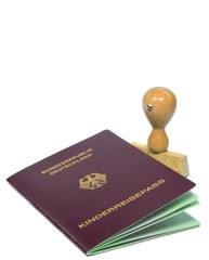 A German passport for a child with small rubber stamp