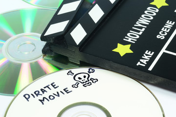 Pirate Movie written on a dvd next to a clapper board