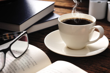 coffee with smoke and books
