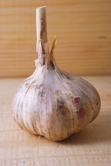 garlic on wooden board