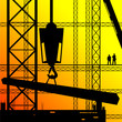 construction worker supervise the work illustration on sunshine