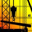 construction worker supervise the work illustration on sunshine