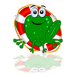 frog with red lifesaver vector illustration part two