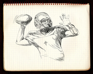 american football game (pitch ball) - black lines version