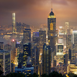 Fototapety Night view to HongKong and Kowloon