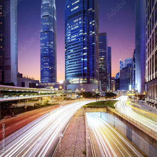 Hong Kong bussines center at sunrise