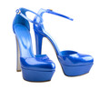 Beautiful blue woman shoes isolated on the white background
