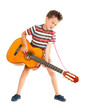 Little boy plays guitar country style