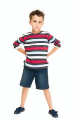 Single naughty little boy standing