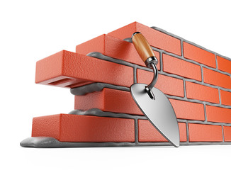 Trowel and bricks wall 3D. Work place. Isolated on white backgro