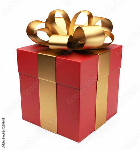 Gift 3D. Red box, bow and ribbon. Isolated on white background