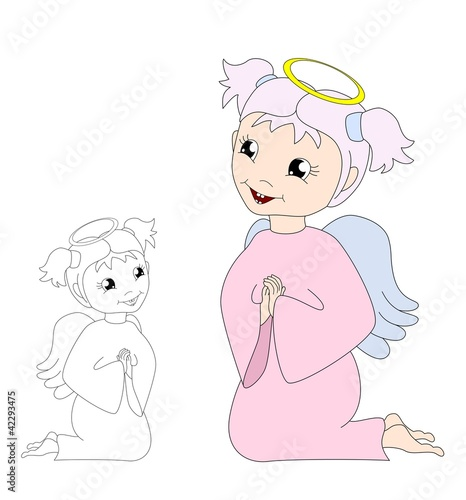cartoon praying angel