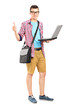 Male student with a shoulder bag, with a laptop giving thumb up