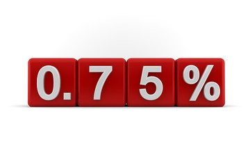 Red numerical 0.75 fractional percentage