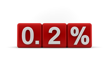 Red numerical 0.2 fractional percentage