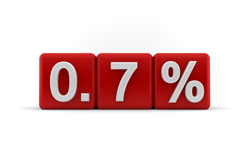 Red numerical 0.7 fractional percentage