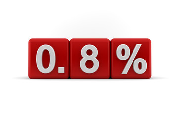 Red numerical 0.8 fractional percentage