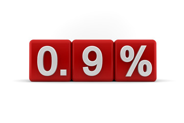 Red numerical 0.9 fractional percentage