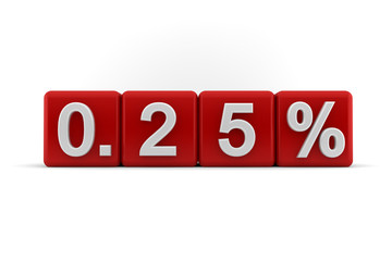 Red numerical 025 fractional percentage
