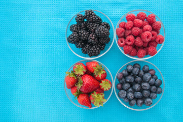 Assorted berries in bowls