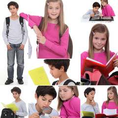 Montage of little boy and girl with rucksacks