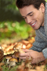 Man happy with mushroom