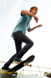 skateboarder on start