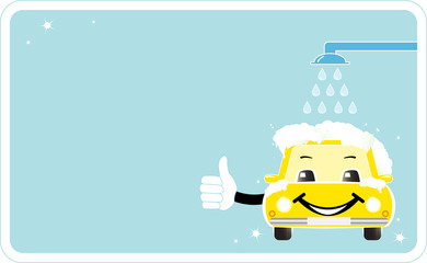 visiting card with smiling car wash. cleaning company sign