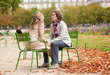 Romantic couple in Paris at fall, having a date