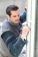 Manual worker fitting door