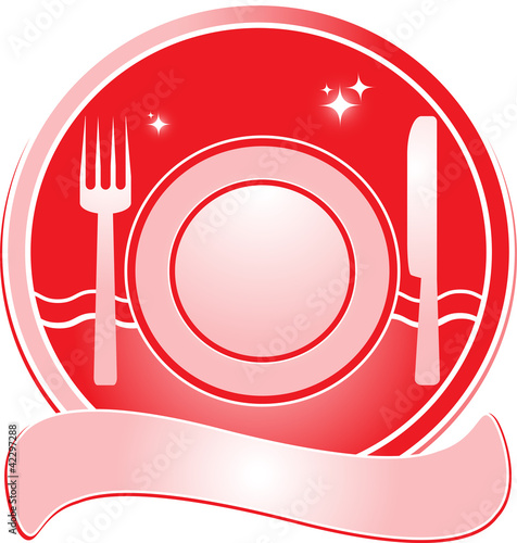 red restaurant sign for menu with utensil and space for text