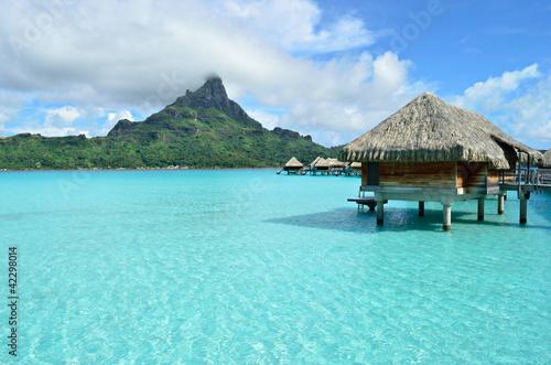 Poster Oceanië Luxury overwater vacation resort on Bora Bora