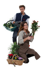 a male vegetable farmer and a female florist